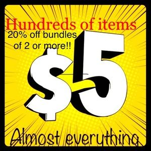 $5 items/ 20% off bundles of 2 or more!